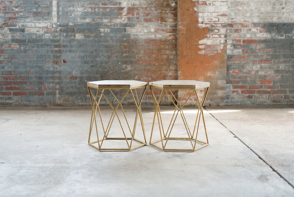 Key West End Tables - Wood + Gold