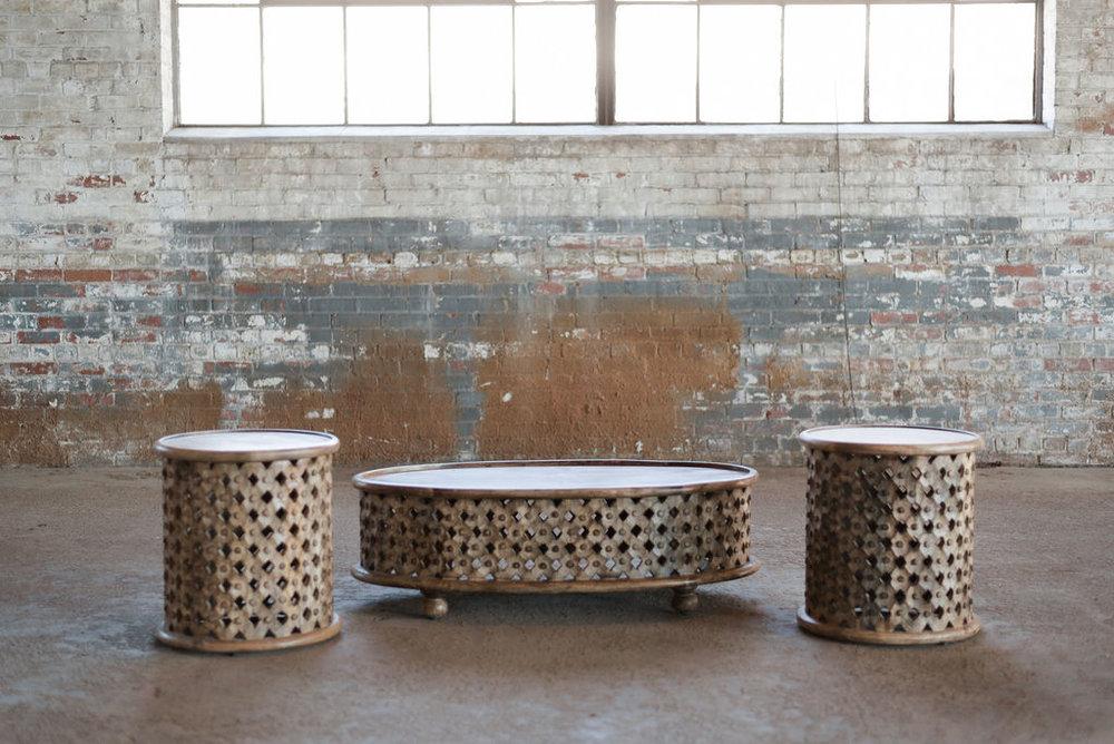 Tribal Table Set- Boho Teak Wood