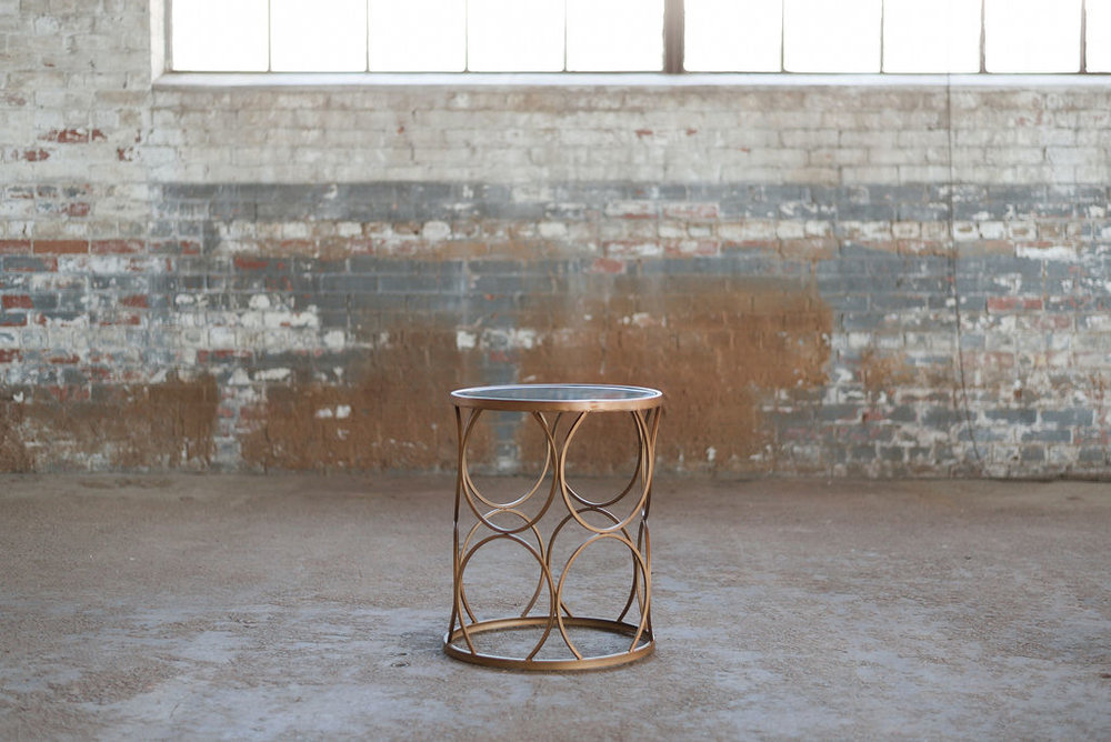 Elise End Table - Copper + Glass