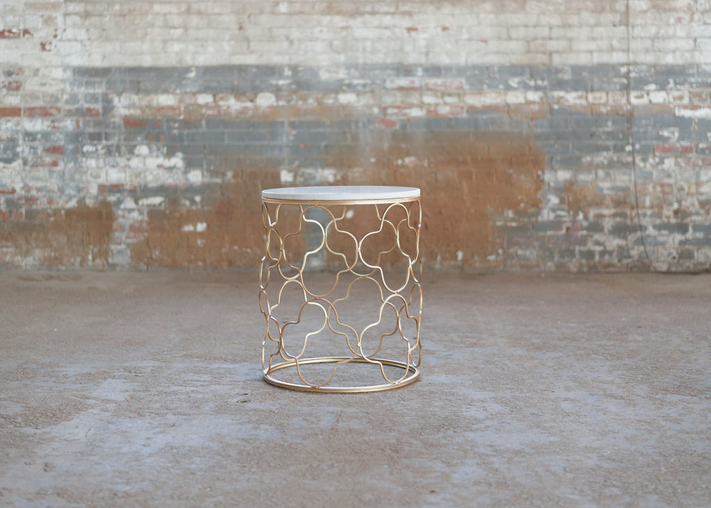 Kayla End Table - Gold Geometric + Marble