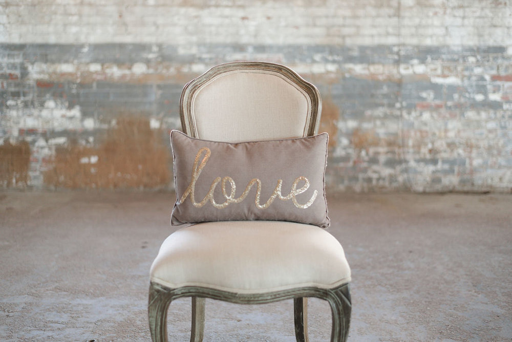 Taupe with Sequin LOVE - Rectangle