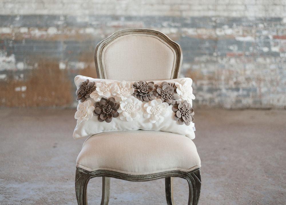 Ivory and Brown with Felt Flowers - Rectangle