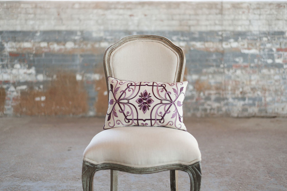 Ivory with Purple Pattern - Rectangle