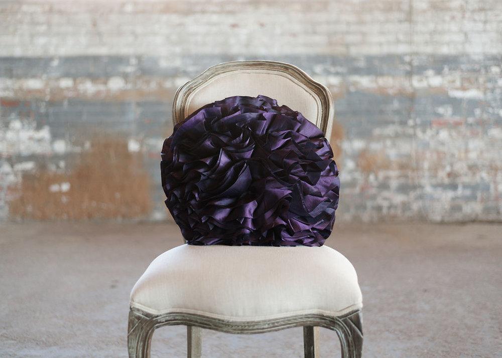 Purple Taffeta Ruffle Ribbon - Round