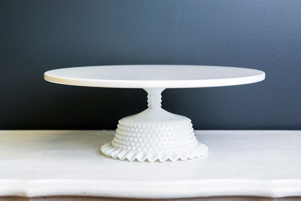 Jane Cake Stand Plate 16 inch - White Milk Glass