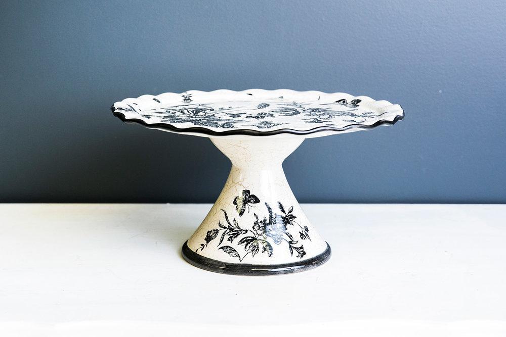 Rory Cake Plate Stand - White Black Design