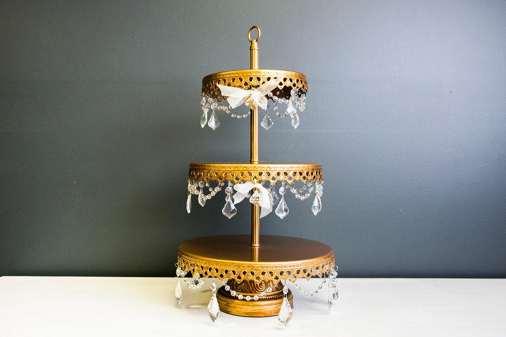 Sophia Dessert Stand - Gold 3 Tier