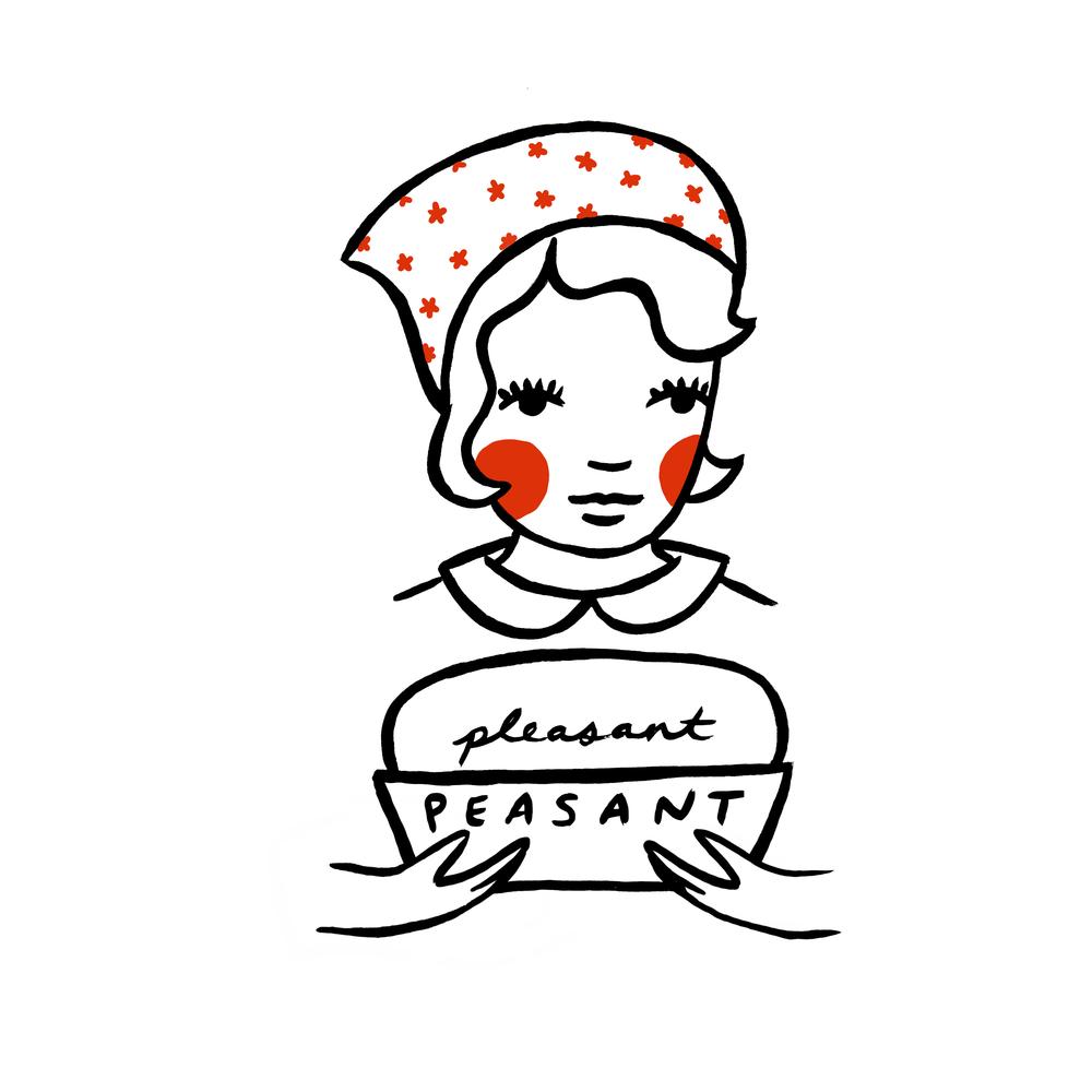 custom designed hand painted illustration pleasant peasant bakery by em randall