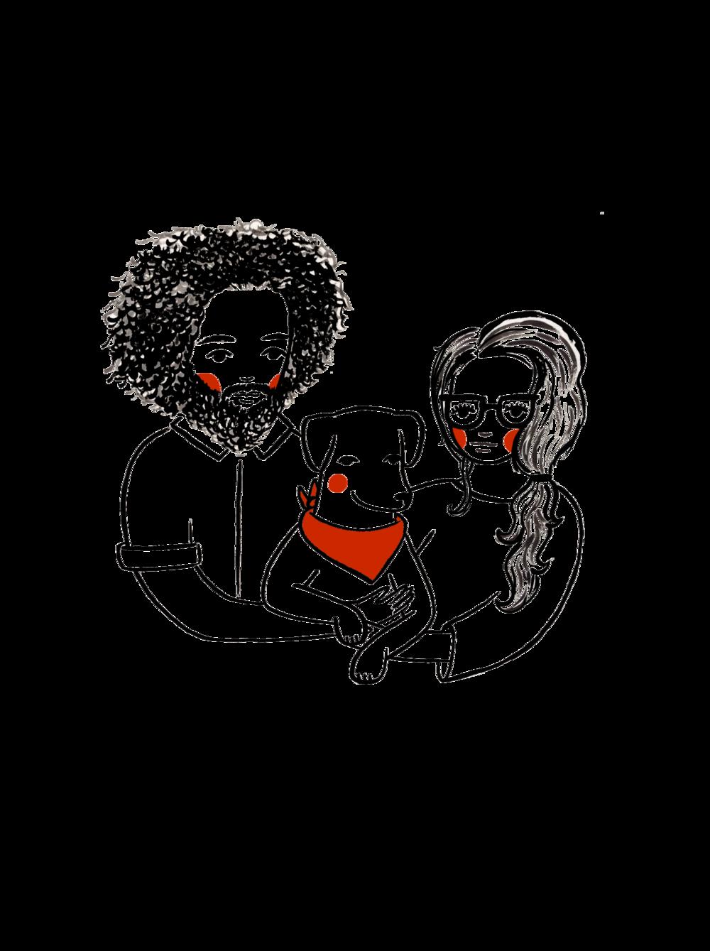custom hand painted family portrait illustration by em randall