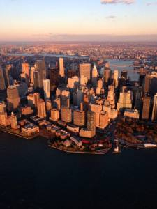 manhattan at golden hour from a helicopter