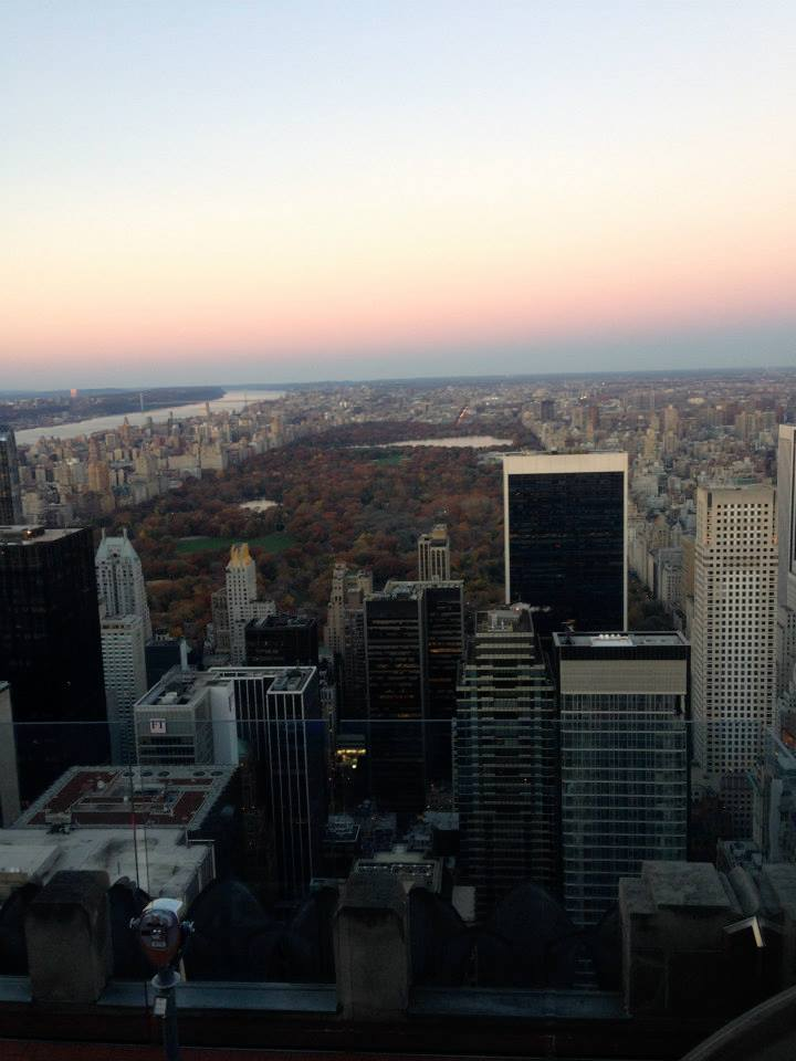 central park at sunset from top of the rock