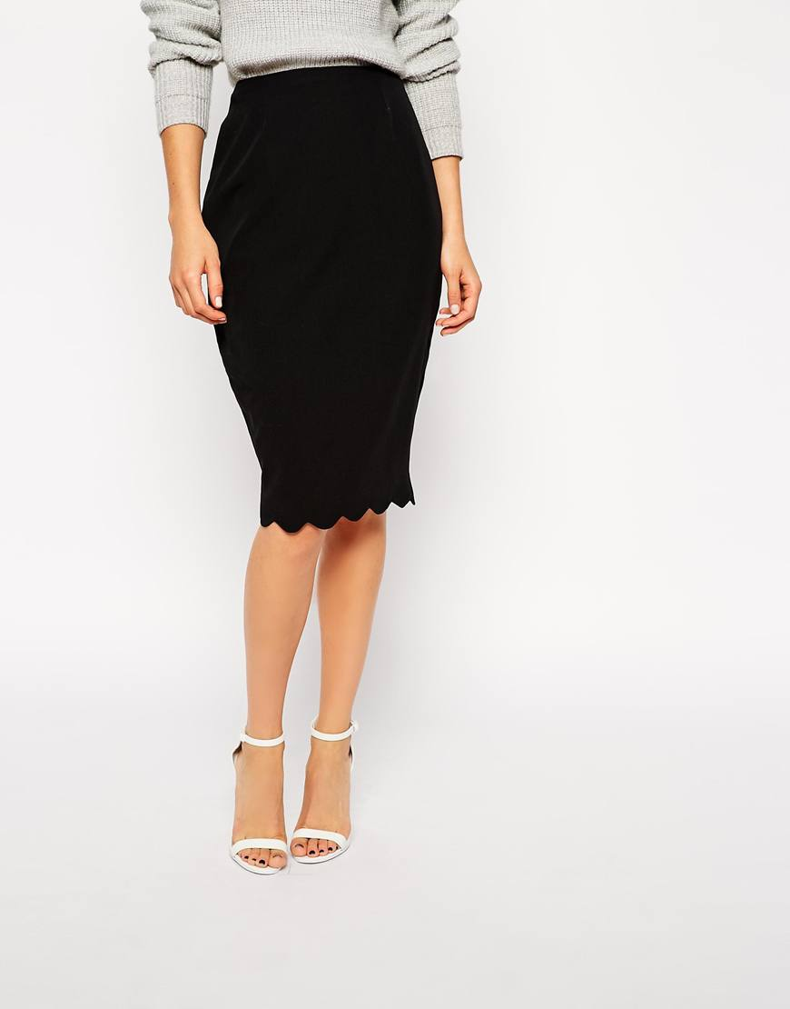 asos scallop pencil skirt