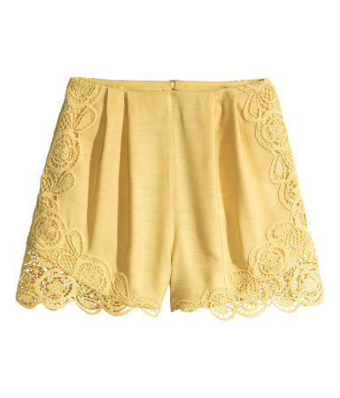 hm yellow lace shorts