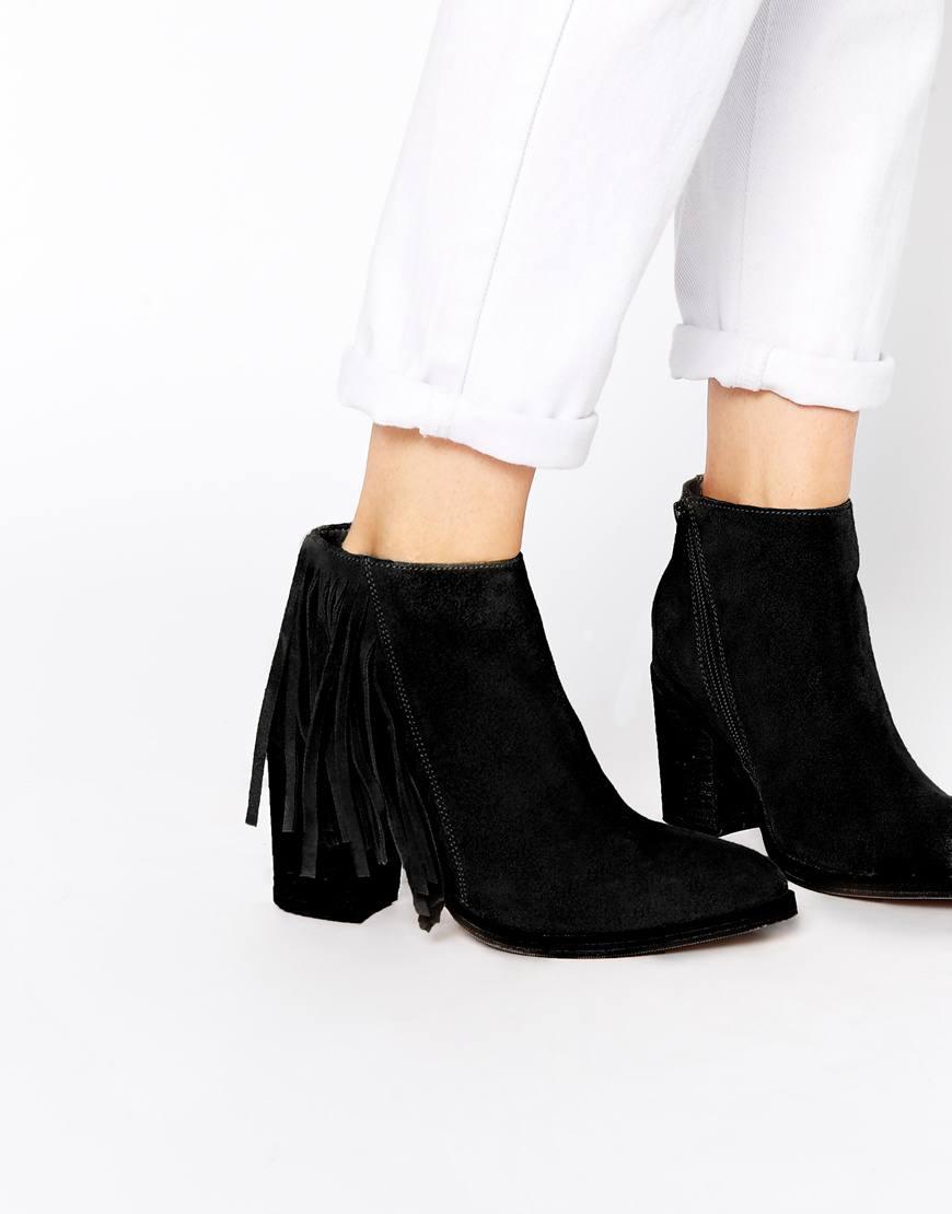 asos riley suede fringe boots