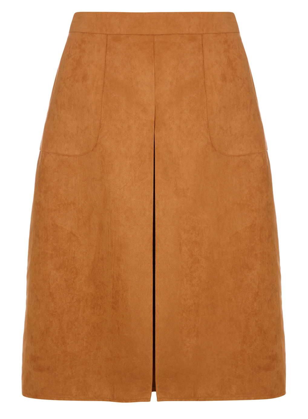 dorothy perkins suedette pocket midi skirt