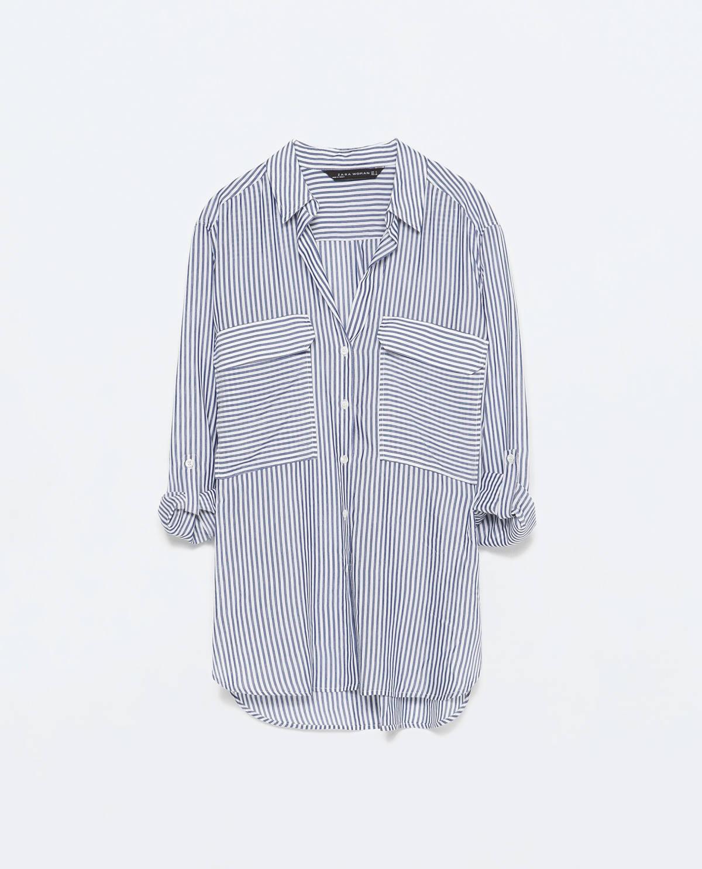 zara 2 pockets striped blouse