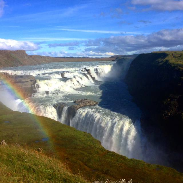 gulfoss rainbow iceland golden circle