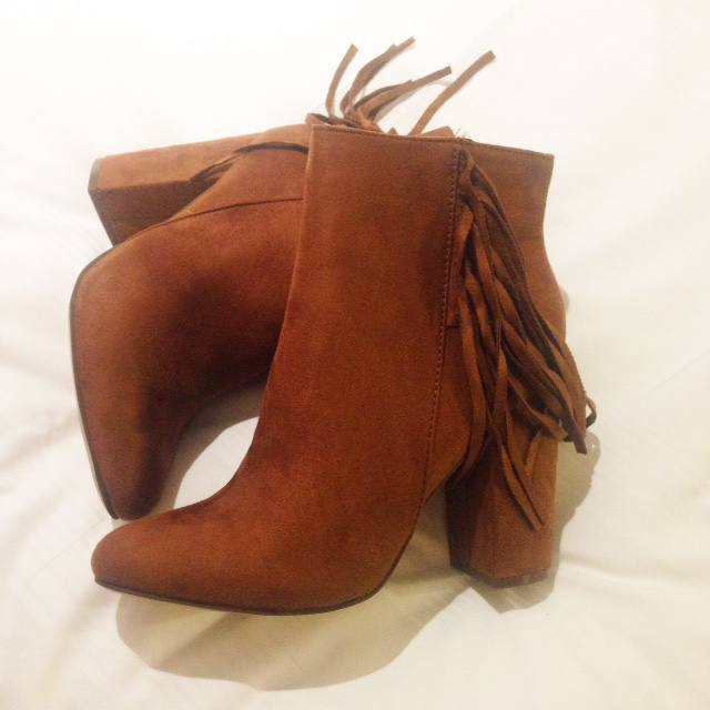 primark tan fringed boots