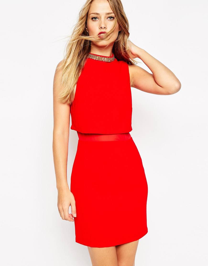 asos embellished collar stand dress