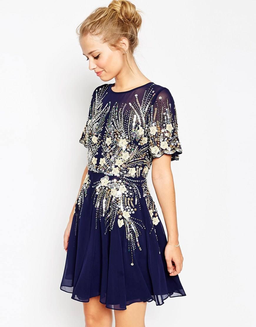 asos gold and navy sparkle mesh skater dress