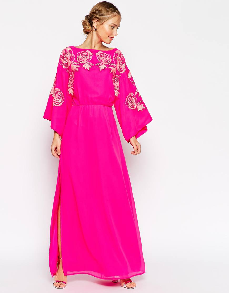 asos kimono bright floral bodice maxi dress