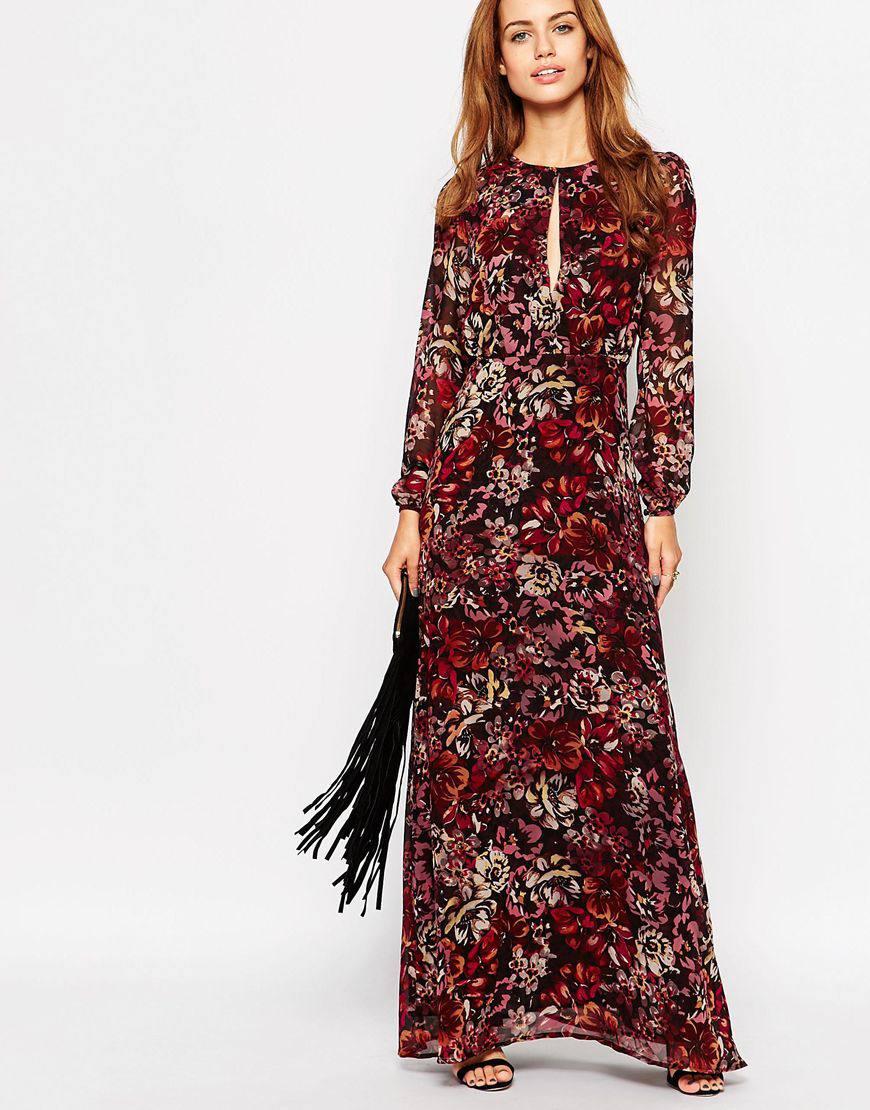 glamorous petite floral printed maxi dress