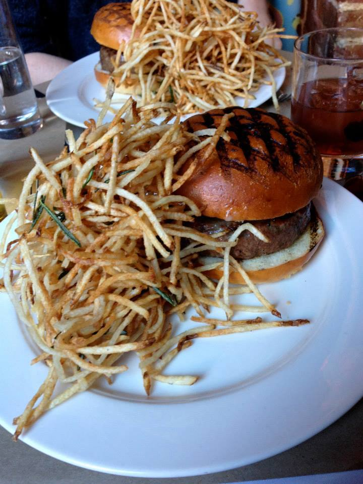 shoestring fries blue cheese burger the spotted pig
