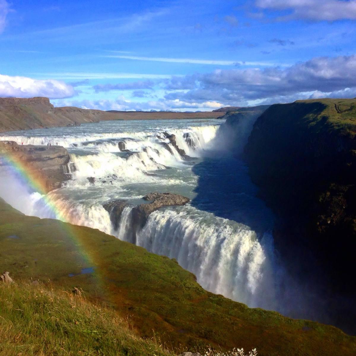 gulfoss rainbow iceland