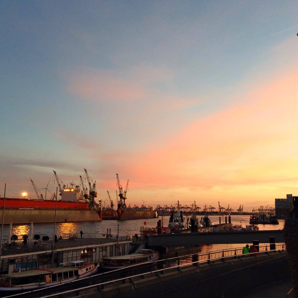 hamburg dock harbour sunset