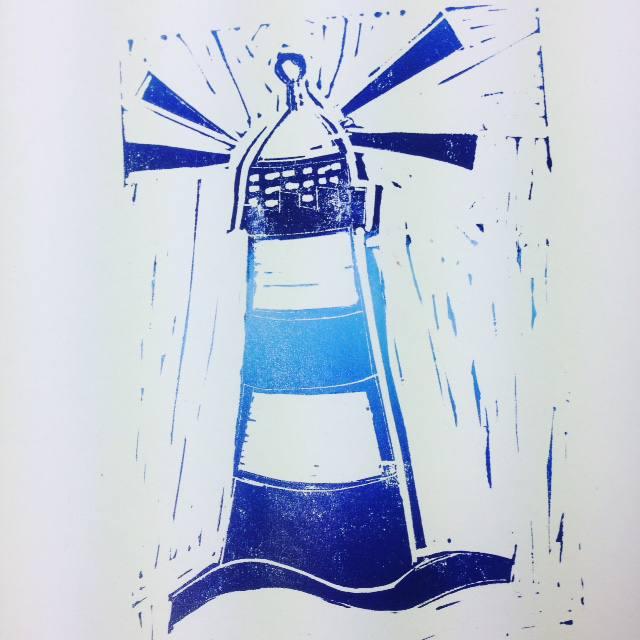linoprinting lighthouse
