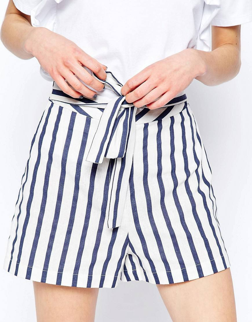linen stripe shorts