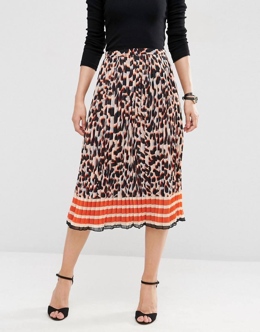 asos animal print pleated midi skirt