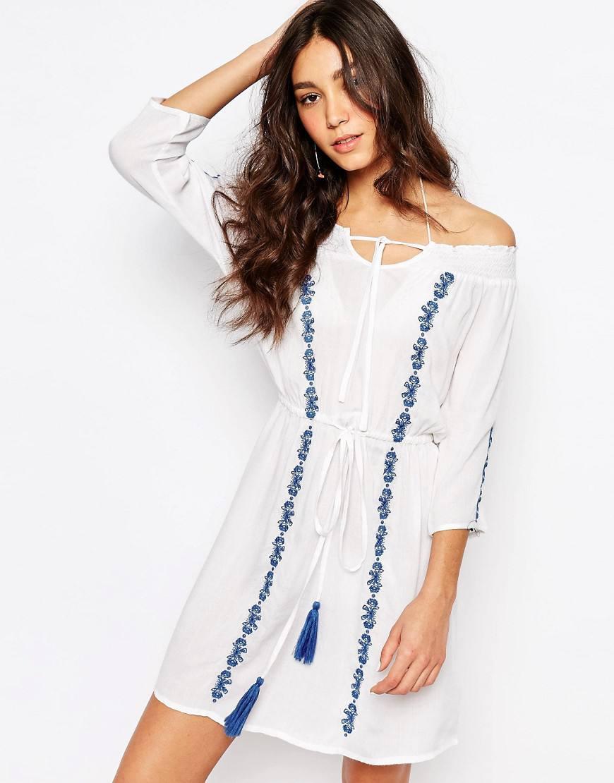 asos embroidered beach dress