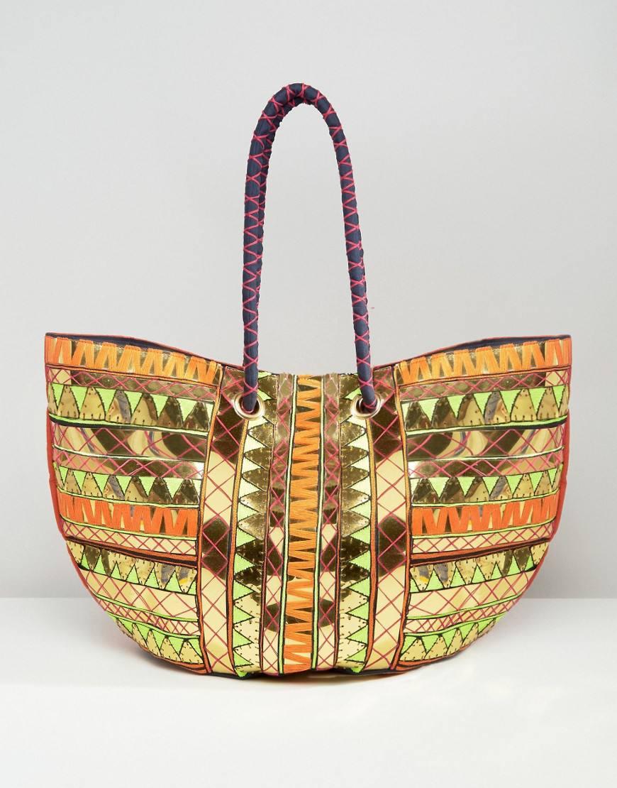 asos metallic beach bag