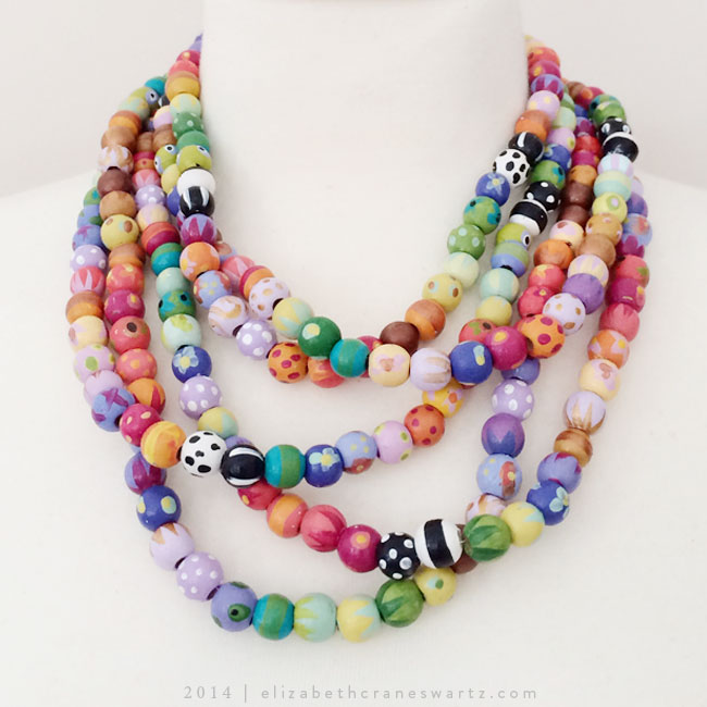 multi-strand, hand painted necklace