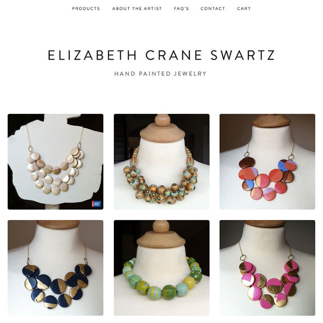 brand new look and name for my hand painted jewelry / elizabethcraneswartz.bigcartel.com