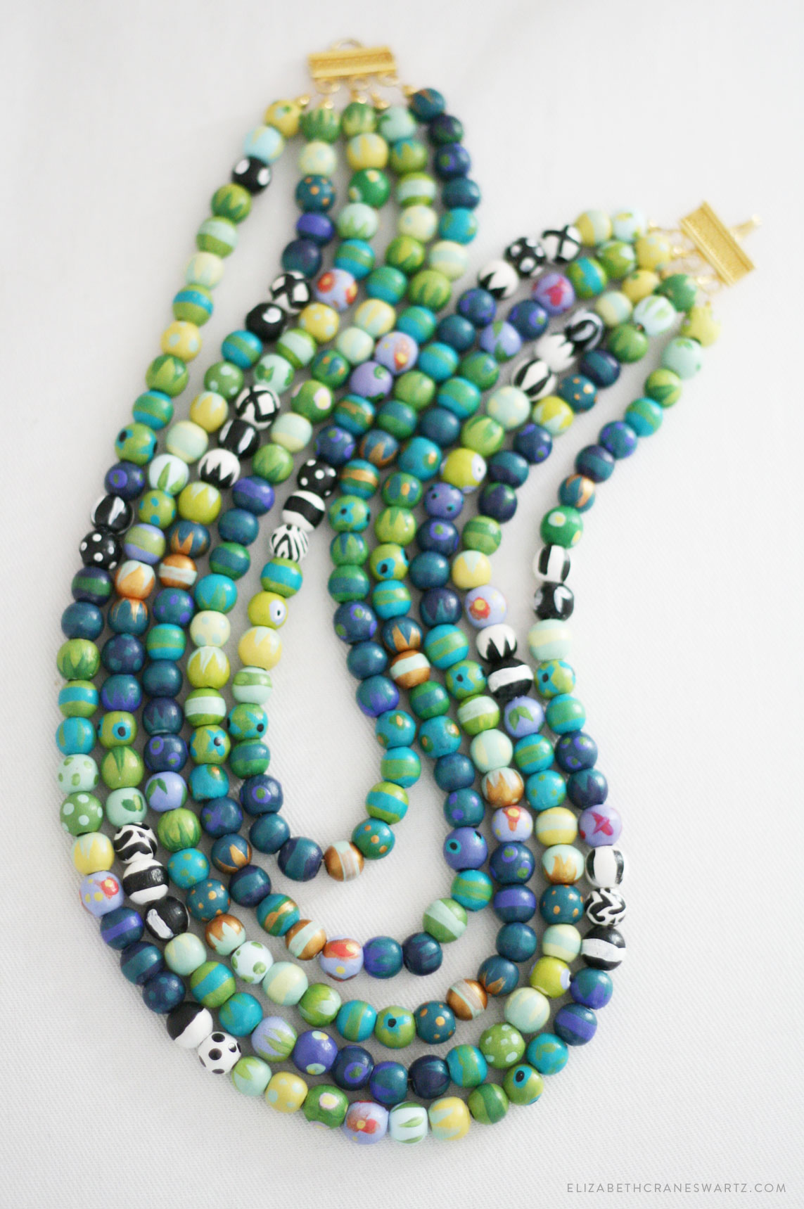hand painted teal necklace / elizabethcraneswartz.com
