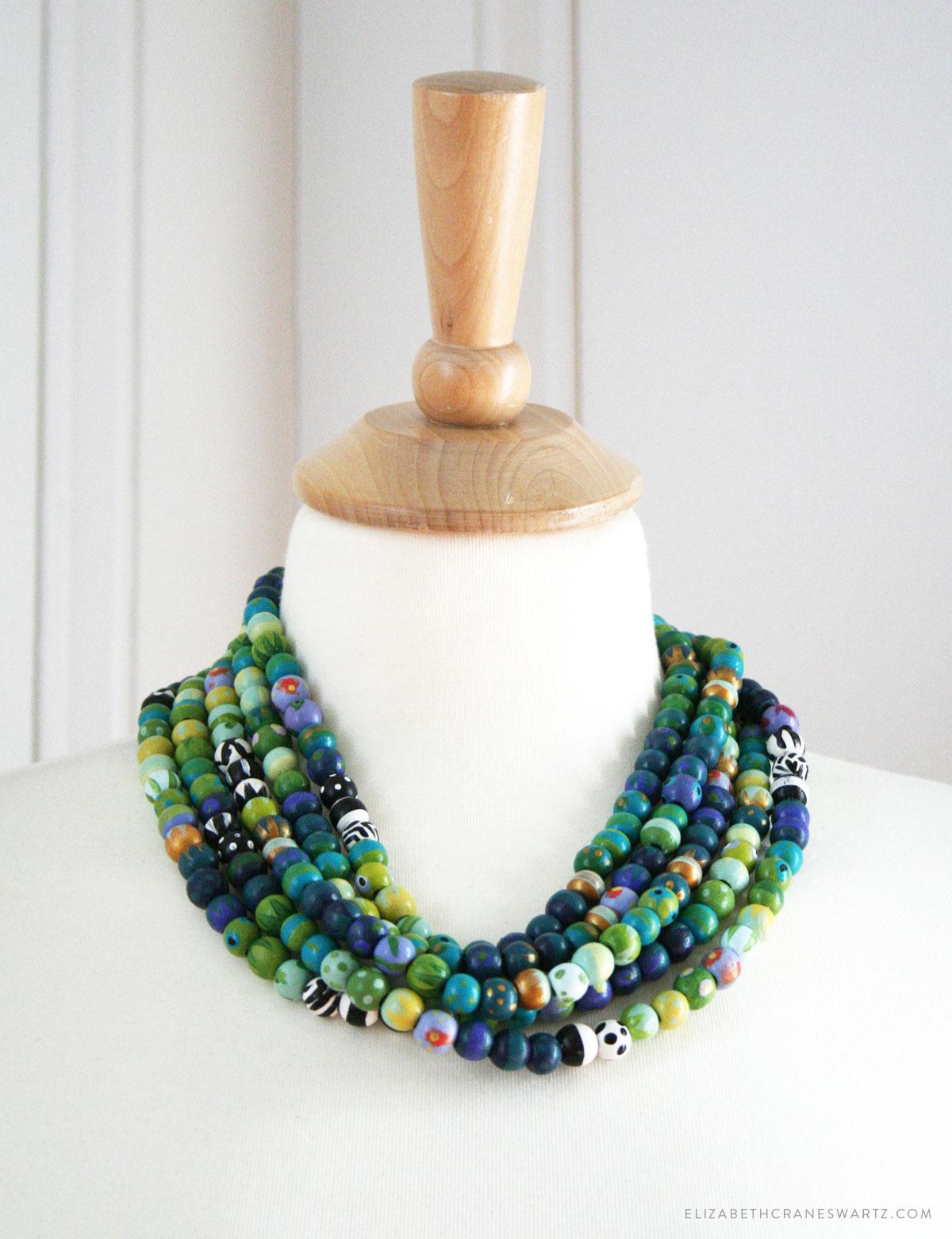 hand painted teal multi strand necklace / elizabethcraneswartz.com