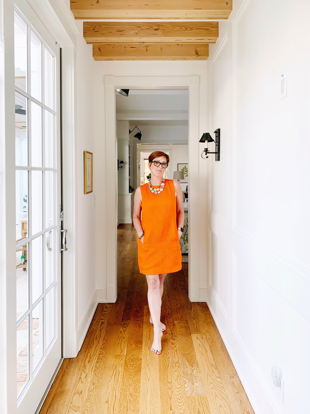 spring 2019 - if you haven't figured it out yet, my color this spring is orange. it's fun to wear and fun to paint.I picked up this super comfortable shift dress from mango and paired it with an extended jane bib necklace on spring break. it transitioned easily from an afternoon of shopping in west palm to dinner with my parents by the water. I just threw my monogrammed striped shirt over my shoulders for when the sun went down.I ordered the cute orange swimsuit (below) from asos and I'm sorry I didn't grab it in black, too - it's incredibly comfortable.I've been working with the colors in the studio and there's a rope necklace, bracelet and earrings are all in the works. this shift dress has three big buttons in back and I'm <thisclose> to painting them, too.a huge thank you to abby for helping out with photos while we were away!