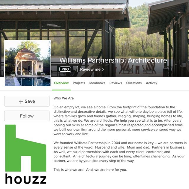Are you a fan of Houzz? Check out our Houzz profile and give us a follow if you like what you see! http://bit.ly/HouzzWilliamsPartnership