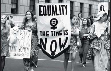 A women's-liberation parade on Fifth Avenue, in New York, in August, 1971. via http://www.newyorker.com/arts/critics/books/2009/11/16/091116crbo_books_levy