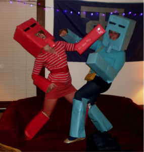 Rock 'Em Sock 'Em Robots. That's me in the red.