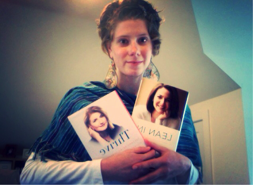 Me with my copies of Lean In: Women, Work, and the Will to Lead and Thrive: The Third Metric to Redefining Success and Creating a Life of Well-Being, Wisdom, and Wonder