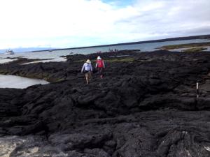 Hiking on lava rock