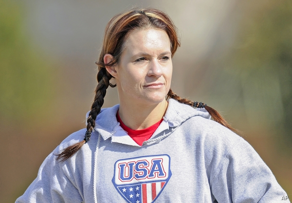 Feb. 13, 2014 - Allen, TX, United States of America - Jennifer Welter waits for her turn to participate in a drill during practice Thursday, February 13, 2014, in Allen, Texas. The 5-foot-2-inch, 130 pound Welter is the first woman to try out for a professional football team at a position other than kicker, she is trying to make the Texas Revolution of the Arena Football League, as a running back. (Cal Sport Media via AP Images)