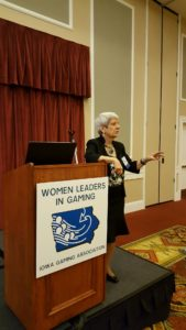 "Laurie Battaglia, Take The Lead Leadership Ambassador, tells the recent Women Leaders in Gaming Summit 3.0 to make the shift to ""power to."""