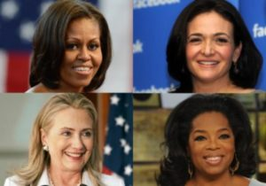 These women made it to the Forbes list of 100 Most Powerful Women again this year: Michelle Obama, Sheryl Sandberg, Hillary Clinton and Oprah Winfrey.
