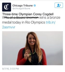 It matters to all women that it was the norm for Olympic medalist Corey Cogdell's time on the podium to be underscored by a headline about her husband.