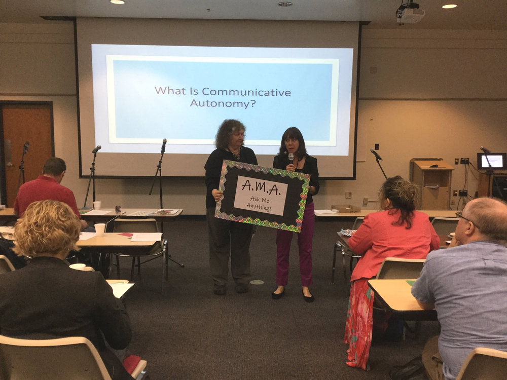 ccc director marjory bancroft (right) delivering 2018 keynote at the arizona translators and interpreters' association annual conference