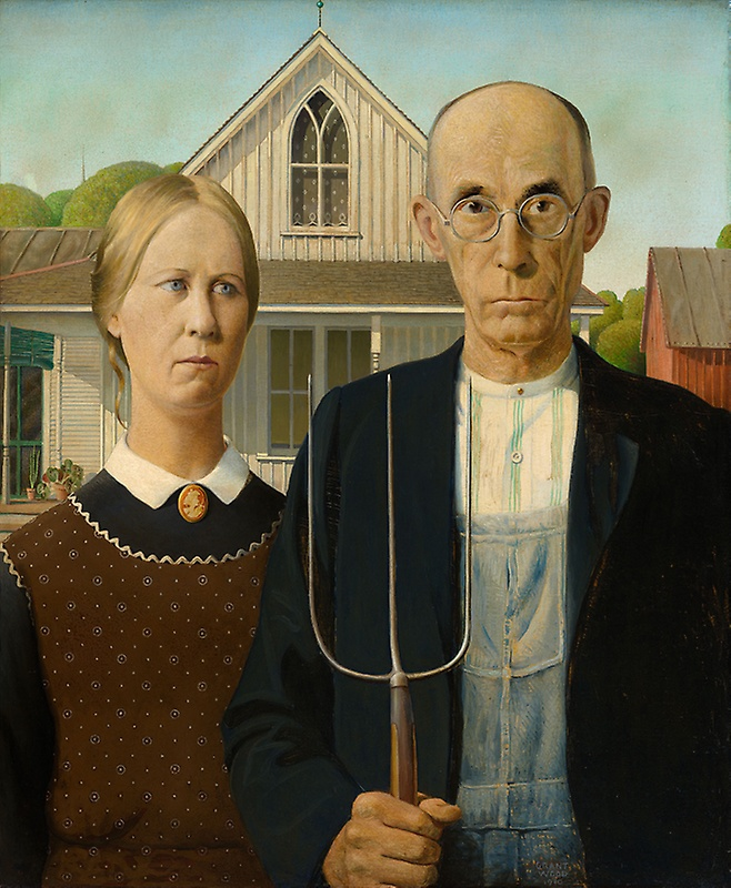 American Gothic , 1930. By Grant Wood (1891-1942). All rights reserved Wood Graham Beneficiaries/Licensed by VAGA, New York, NY.